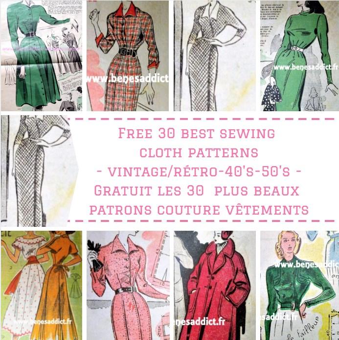 GRATUIT Les 30 PLUS BEAUX Patrons De Vêtements Vintage/Rétro à Coudre Des  Années 40 Et 50!